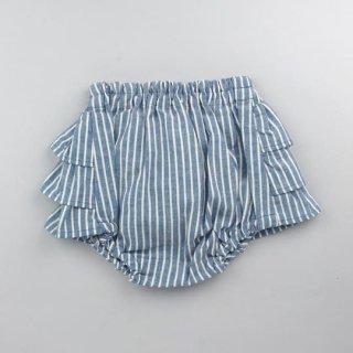 mimi poupons [ミミプポン] / フリルパンツ / ダンガリーストライプ