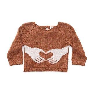 Oeuf NYC [ウフ] / HEART HANDS SWEATER-HAZELNUT/MULTI / ベビーアルパカ 100%
