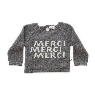 Oeuf NYC [ウフ] / MERCI SWEATER-DARK GREY/WHITE / ベビーアルパカ 100%