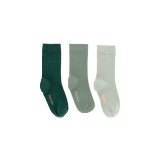 tinycottons [タイニーコットンズ] / pack of 3 medium socks / dark green/dark pistacho/pistacho