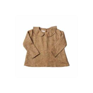 AS WE GROW [ アズウィーグロウ ] / Peter Pan Shirt Long Sleeve /Brown Brushed Linen