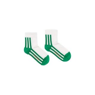 【50%OFF!】TINYCOTTONS / 'STRIPES' QUARTER SOCKS / off-white/green