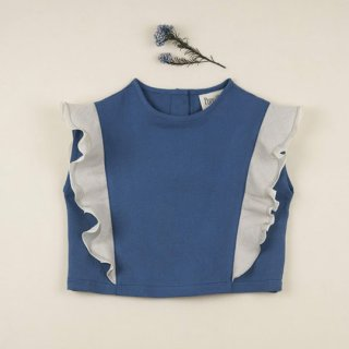 【40%OFF!】Popelin / Double-frill shirt / Blue