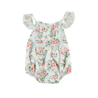 【50%OFF!】piupiuchick / Baby romper with frills on straps / Flowers . cotton linen