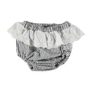 【40%OFF!】tocoto vintage / Striped culotte with swiss embroidered ruffle / NAVY