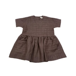 AS WE GROW / Pocket dress short Sleeve / Brown/Pinstriped