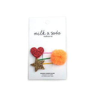 milk&soda / Heart PomPom Star Hair Clips / Red