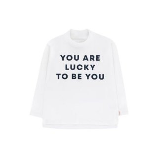 TINYCOTTONS / YOU ARE LUCKY LS MOCK NECK TEE / off-white/true navy