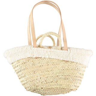 tocoto vintage / Straw bag with removable sheepskin lining and leather straps / OFF-WHITE