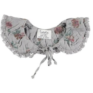 tocoto vintage / Flower print collar with lace trim / GREY
