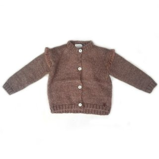 tocoto vintage / Knitted cardigan with lace details on the shoulders / BROWN