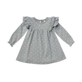 Quincy Mae / Longsleeve Flutter Dress / dusty blue