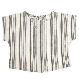 【30%OFF!】tocoto vintage / Baby striped shirt with down buttons in the back / GREY