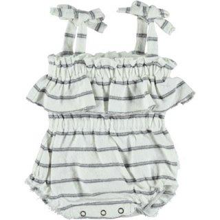 【30%OFF!】piupiuchick / Playsuit w/straps / grey stripes cotton fleece