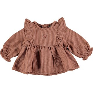 tocoto vintage / Striped blouse with ruffles / PINK