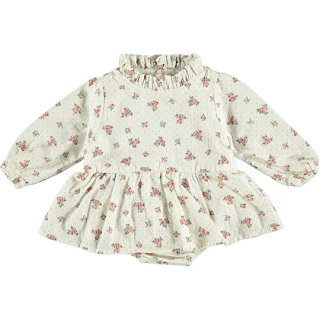 tocoto vintage / Flower print baby dress with ruffled neck and inner body / OFF-WHITE