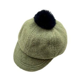 chocolatesoup / FLEECE POMPOM CAP / GREEN