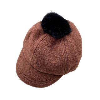 chocolatesoup / FLEECE POMPOM CAP / BROWN