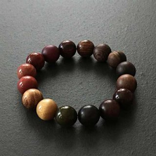 カラフルレアウッドの数珠ブレスレッド(木珠,12mm珠)