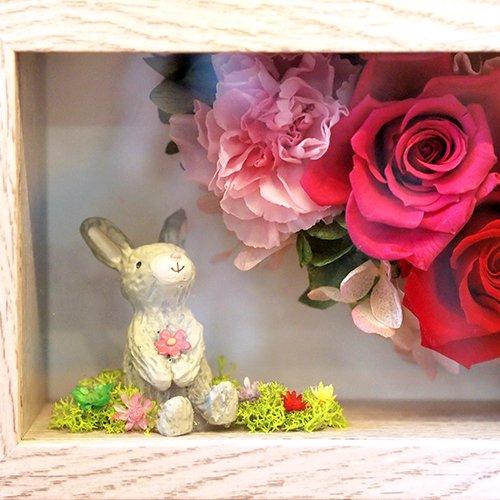 フラワーフォトフレーム ウサギ