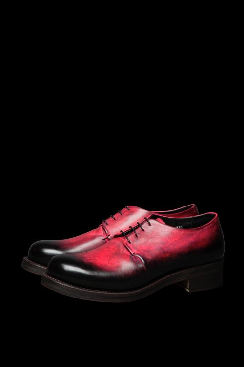 POLAND SHOULDER HAND-DYED PATINE FINISH LOW SHOES