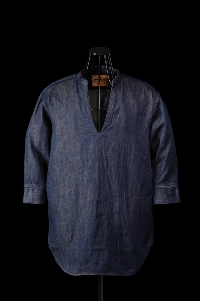 COTTON-LINEN DENIM SKIPPER SHIRT