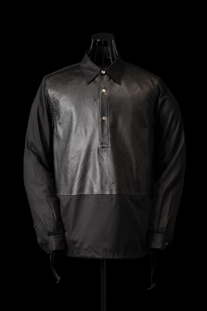 COTTON-RAYON + STRETCH DEERSKIN PULLOVER SHIRT