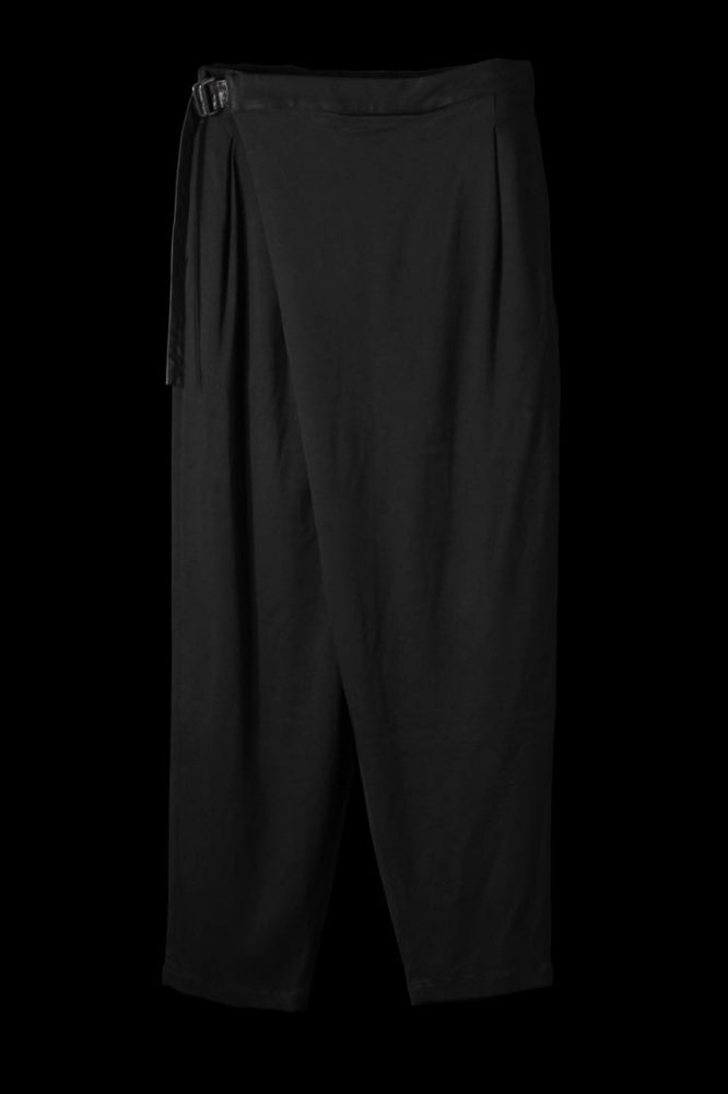 STRETCH RAYON-SILK WRAP FRONT TAPERED PANTS