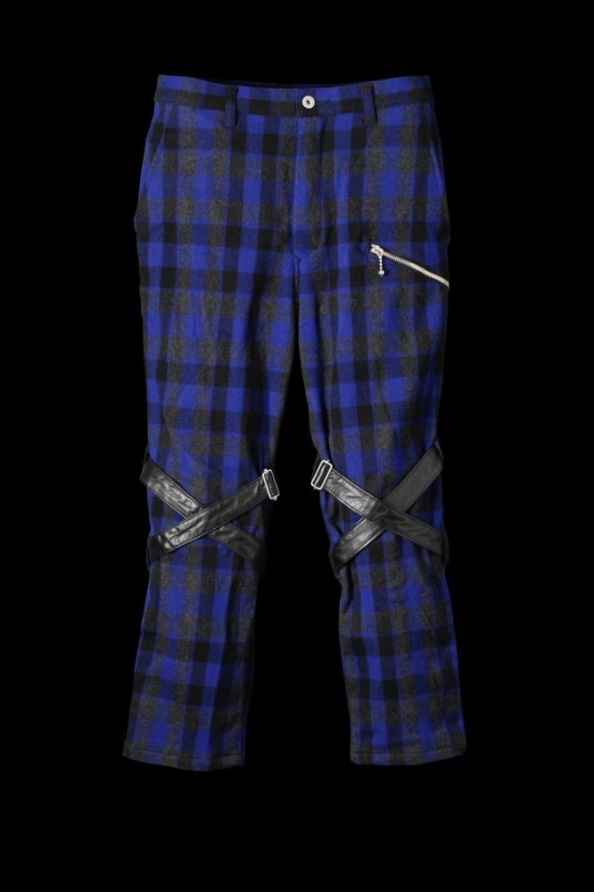 WOOL CHECK BONDAGE PANTS
