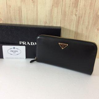 プラダ 長財布 PRADA ラウンドファスナー BOX CALF