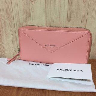 バレンシアガ 長財布 BALENCIAGA ペーパー ラウンドジップ ピンク
