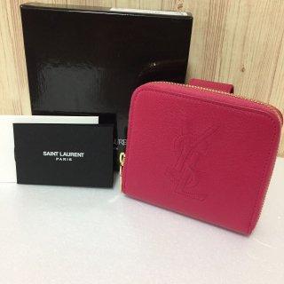 サンローラン 財布 SAINT LAURENT ロゴ コンパクト ピンク