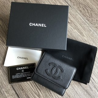 CHANEL シャネル クラシックロゴ 三つ折り財布