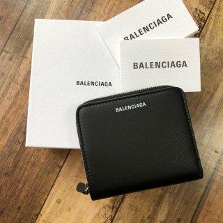 バレンシアガ 2つ折り財布 ラウンド ブラック