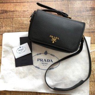 新品 PRADA プラダ フラップ レザー ショルダーバッグ