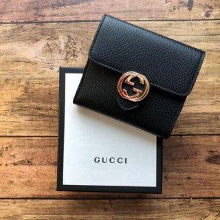 新品 GUCCI グッチ GG二つ折り財布 レア ロゴ