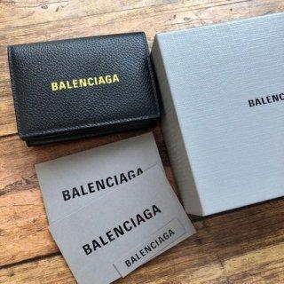 新品 バレンシアガ 594312 ロゴ コンパクト 三つ折り財布