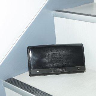 ATメタルプレートアドバン かぶせがま口長財布