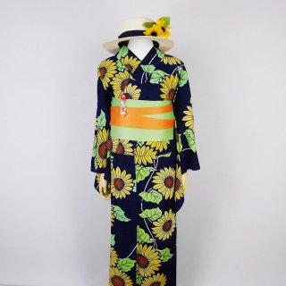浴衣セット レトロな向日葵