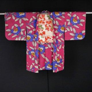 銘仙長羽織 抽象的な花