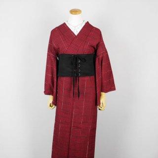 着物 単品 黒×赤のチェック模様