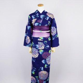 浴衣セット 紫陽花(帯留め付き)