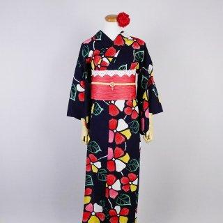 浴衣セット 注染レトロ ポップな花(帯留め付き)