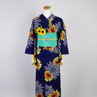 浴衣セット レトロ 向日葵(帯留め&ピアス付き)