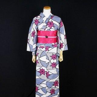 浴衣セット 注染レトロ 波に紅葉(帯留め&ピアス付き)