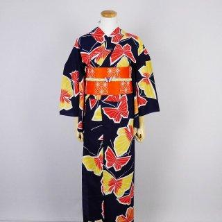 浴衣セット レトロ 蝶(ピアス付き)