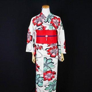 浴衣セット 注染レトロ 花(帯留め&ピアス付き)