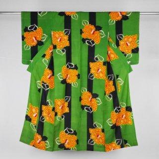 アンティーク着物 縞に椿の花