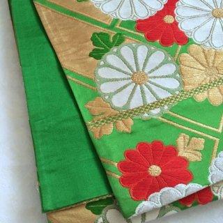 緑地に菊の袋帯