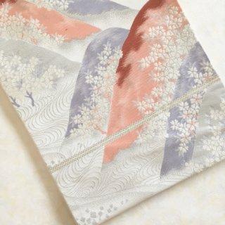 春霞 桜に遠山文様の袋帯